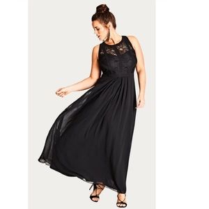 NEW! City Chic | Panelled Bodice Maxi Dress Black